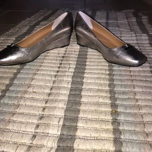 New with Box J. Renee Yaralla Silver Wedge Pumps